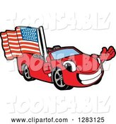 Vector Illustration of a Cartoon Red Convertible Car Mascot Waving and Holding an American Flag by Toons4Biz