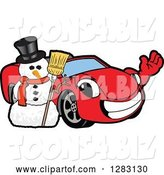Vector Illustration of a Cartoon Red Convertible Car Mascot Waving by a Christmas Snowman by Toons4Biz