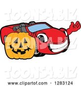 Vector Illustration of a Cartoon Red Convertible Car Mascot Waving by a Halloween Jackolantern Pumpkin by Toons4Biz
