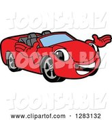 Vector Illustration of a Cartoon Red Convertible Car Mascot Welcoming by Toons4Biz