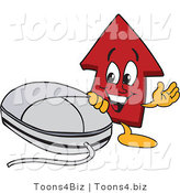 Vector Illustration of a Cartoon Red up Arrow Mascot by a Computer Mouse by Toons4Biz
