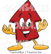 Vector Illustration of a Cartoon Red up Arrow Mascot by Toons4Biz