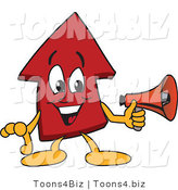 Vector Illustration of a Cartoon Red up Arrow Mascot Holding a Megaphone by Toons4Biz