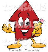 Vector Illustration of a Cartoon Red up Arrow Mascot Holding a Pencil by Toons4Biz
