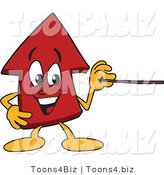Vector Illustration of a Cartoon Red up Arrow Mascot Holding a Pointer Stick by Toons4Biz