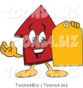 Vector Illustration of a Cartoon Red up Arrow Mascot Holding a Yellow Tag by Toons4Biz