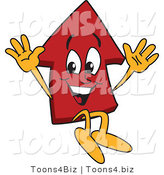Vector Illustration of a Cartoon Red up Arrow Mascot Jumping by Toons4Biz