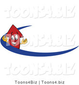 Vector Illustration of a Cartoon Red up Arrow Mascot on a Blue Dash Arrow by Toons4Biz