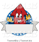 Vector Illustration of a Cartoon Red up Arrow Mascot on an American Logo with a Blank Banner by Toons4Biz