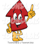 Vector Illustration of a Cartoon Red up Arrow Mascot Pointing up by Toons4Biz