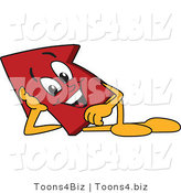 Vector Illustration of a Cartoon Red up Arrow Mascot Reclined by Toons4Biz