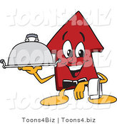Vector Illustration of a Cartoon Red up Arrow Mascot Serving a Platter by Toons4Biz