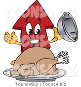 Vector Illustration of a Cartoon Red up Arrow Mascot Serving a Thanksgiving Turkey by Toons4Biz