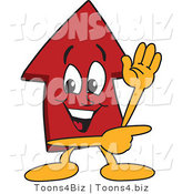 Vector Illustration of a Cartoon Red up Arrow Mascot Waving and Pointing by Toons4Biz