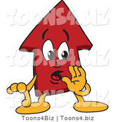 Vector Illustration of a Cartoon Red up Arrow Mascot Whispering by Toons4Biz