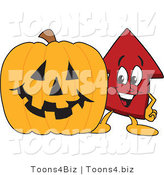 Vector Illustration of a Cartoon Red up Arrow Mascot with a Halloween Pumpkin by Toons4Biz