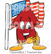 Vector Illustration of a Cartoon Red up Arrow Mascot with an American Flag by Toons4Biz
