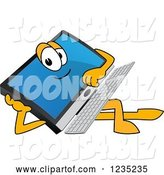 Vector Illustration of a Cartoon Resting PC Computer Mascot by Toons4Biz