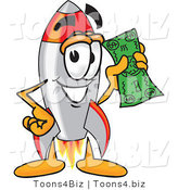 Vector Illustration of a Cartoon Rocket Mascot Holding a Dollar Bill by Toons4Biz