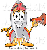 Vector Illustration of a Cartoon Rocket Mascot Holding a Megaphone by Toons4Biz