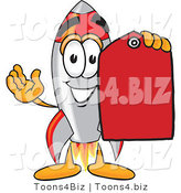 Vector Illustration of a Cartoon Rocket Mascot Holding a Red Sales Price Tag by Toons4Biz