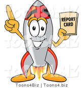Vector Illustration of a Cartoon Rocket Mascot Holding a Report Card by Toons4Biz