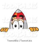 Vector Illustration of a Cartoon Rocket Mascot Peeking over a Surface by Toons4Biz
