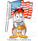 Vector Illustration of a Cartoon Rocket Mascot Pledging Allegiance to an American Flag by Toons4Biz