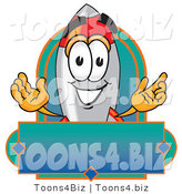 Vector Illustration of a Cartoon Rocket Mascot with a Blank Label by Toons4Biz