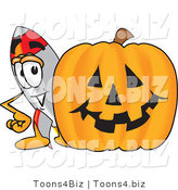 Vector Illustration of a Cartoon Rocket Mascot with a Carved Halloween Pumpkin by Toons4Biz