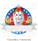 Vector Illustration of a Cartoon Rocket Mascot with Stars and Blank Label by Toons4Biz