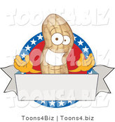 Vector Illustration of a Cartoon Royalty-Free (RF) Clipart Illustration of an American Peanut Mascot Logo with a Blank Banner by Toons4Biz