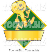 Vector Illustration of a Cartoon Running Gold Key Mascot Logo over a Green Diamond and Gold Banner by Toons4Biz