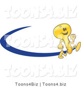 Vector Illustration of a Cartoon Running Gold Key Mascot Logo with a Blue Dash by Toons4Biz
