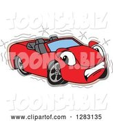 Vector Illustration of a Cartoon Sad Red Convertible Car Mascot After an Accident by Toons4Biz