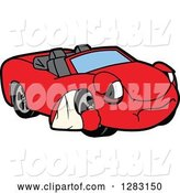 Vector Illustration of a Cartoon Sad Red Convertible Car Mascot with an Arm in a Sling by Toons4Biz
