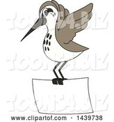Vector Illustration of a Cartoon Sandpiper Bird School Mascot Flying with a Banner by Toons4Biz