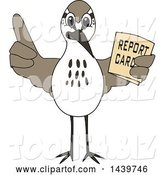 Vector Illustration of a Cartoon Sandpiper Bird School Mascot Holding a Report Card by Toons4Biz