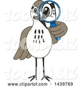 Vector Illustration of a Cartoon Sandpiper Bird School Mascot Looking Through a Magnifying Glass by Toons4Biz