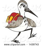 Vector Illustration of a Cartoon Sandpiper Bird School Mascot Wearing a Backpack by Toons4Biz