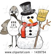 Vector Illustration of a Cartoon Sandpiper Bird School Mascot with a Snowman by Toons4Biz