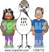 Vector Illustration of a Cartoon Sandpiper Bird School Mascot with Happy Students by Toons4Biz
