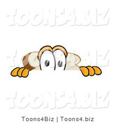 Vector Illustration of a Cartoon Scared Bread Mascot Peeking over a Surface by Toons4Biz
