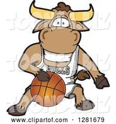 Vector Illustration of a Cartoon School Bull Mascot Athlete Playing Basketball by Toons4Biz