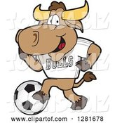 Vector Illustration of a Cartoon School Bull Mascot Athlete Playing Soccer by Toons4Biz