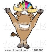 Vector Illustration of a Cartoon School Bull Mascot Cheering with Colorful Punk Hair by Toons4Biz