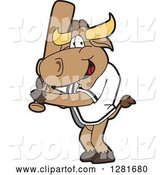 Vector Illustration of a Cartoon School Bull Mascot Holding a Baseball Bat by Toons4Biz
