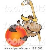 Vector Illustration of a Cartoon School Bull Mascot Holding a Field Hockey Stick and Ball by Toons4Biz
