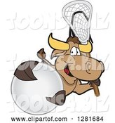 Vector Illustration of a Cartoon School Bull Mascot Holding a Lacrosse Stick and Ball by Toons4Biz