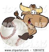 Vector Illustration of a Cartoon School Bull Mascot Holding up or Catching a Baseball by Toons4Biz